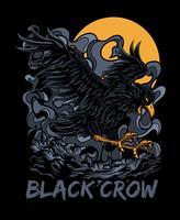progettazione della maglietta dell'illustrazione di vettore del corvo nero