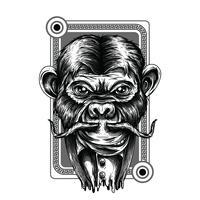 Progettazione della maglietta dell'illustrazione in bianco e nero dello scimpanzè