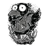 Progettazione in bianco e nero della maglietta dell'illustrazione dell'uccello