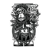 vettore di scimmia in bianco e nero
