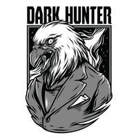 progettazione della maglietta dell'illustrazione di vettore dell'aquila in bianco e nero