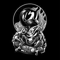 skate astronout illustrazione vettoriale tshirt design