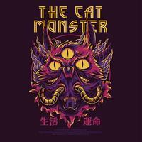 progettazione della maglietta dell'illustrazione di vettore del mostro del gatto