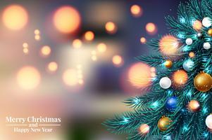 Rami di albero di Natale con luci vettore