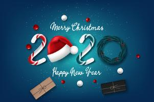 Scheda di nuovo anno 2020 con sfondo di Natale vettore