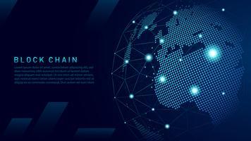 Tecnologia blockchain con concetto di connessione globale vettore