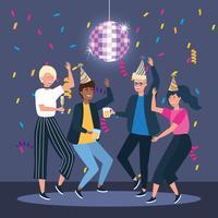 Gruppo di diversi uomini e donne che ballano alla festa vettore