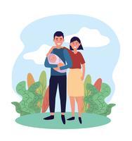 coppia donna e uomo con il loro bambino carino vettore