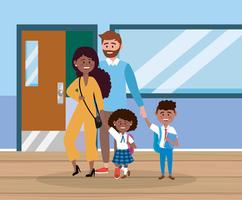 Padre e madre con il ragazzo e la studentessa a scuola vettore