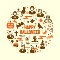 set di icone di notte di Halloween vettore
