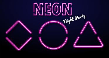 Scatole di messaggi colorate al neon che si illuminano alle feste notturne. vettore