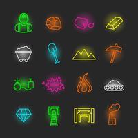set di icone al neon di mining
