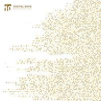 Fondo astratto del pixel del modello dell'oro del quadrato di dati digitali di tecnologia vettore