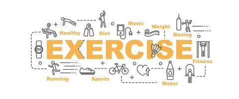 banner di esercizio con attrezzature linea arte e icone di fitness