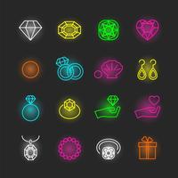 set di icone al neon gioielli vettore