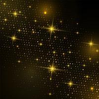 Mezzitoni quadrati astratti d'oro con luce scintillante su uno sfondo nero moderno
