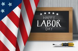 Illustrazione di vettore del fondo di festa del lavoro di USA con la bandiera di USA
