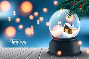 Palla di neve con sfondo albero di Natale