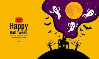 Happy Halloween sfondo notte spaventosa vettore
