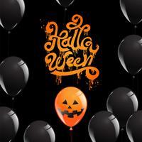 Calligrafia di Halloween con palloncini spettrali vettore