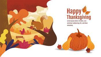Buon Ringraziamento, Autumn Banner Design con scoiattolo