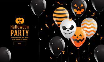 Banner di Halloween con palloncini spettrali vettore