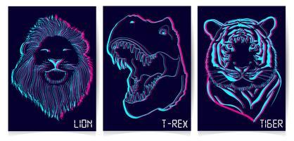 Set di luci al neon animali disegnati a mano vettore