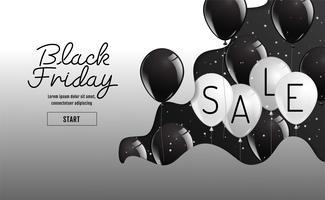 Banner di vendita venerdì nero con palloncini vettore