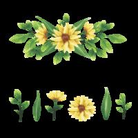 ghirlanda floreale gialla e acquerello stile foglia vettore