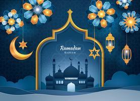 Cartolina d'auguri di Ramadan Kareem arancione e blu vettore