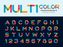 Lettere e numeri dell'alfabeto multicolore vettore