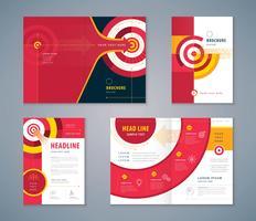 Insieme di progettazione del libro di copertina, freccia astratta e priorità bassa dell'obiettivo