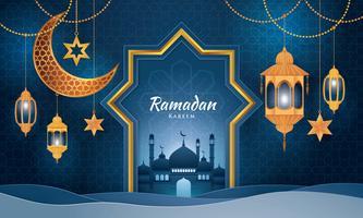 Cartolina d'auguri di Ramadan Kareem vettore