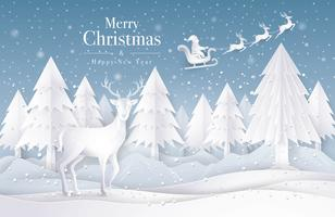 Slitta di Babbo Natale che vola sul cielo con la neve