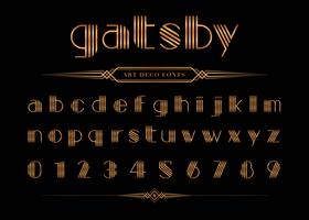 Carattere e numero Gatsby, set di lettere d'oro. vettore