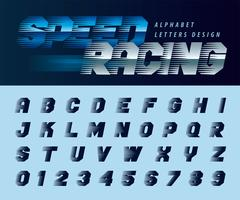 Alfabeto Speed Racing Effect Lettere e numeri vettore