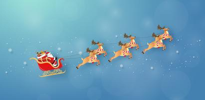 Babbo Natale e renne volano attraverso il cielo vettore