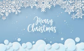 Cartolina di Natale allegro fiocco di neve vettore