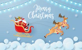 Carta di origami Merry Christmas Card vettore