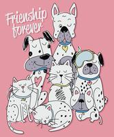 Illustrazione sveglia disegnata a mano del cane e del gatto vettore
