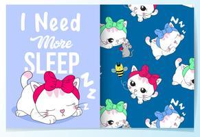 Gatto di sonno sveglio disegnato a mano con set di pattern
