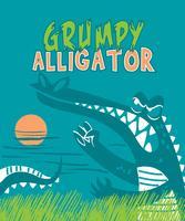 Disegnata a mano illustrazione scontroso alligatore