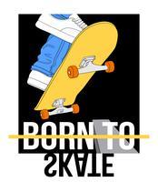 Piedi disegnati a mano su skateboard con nato per pattinare il testo vettore