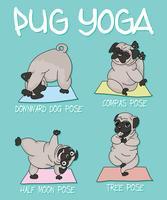 Illustrazione sveglia disegnata a mano di yoga del carlino vettore