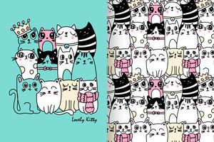 Set di modelli disegnati a mano adorabile gattino vettore