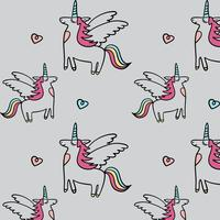 Unicorno disegnato a mano con sfondo modello ali