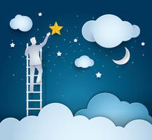 Uomo d'affari Climbing Ladder per raggiungere la stella nel cielo vettore
