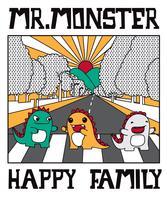 Famiglia di mostro sveglia disegnata a mano che attraversa l'illustrazione della via vettore