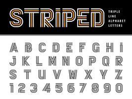 Lettere e numeri dell'alfabeto a strisce vettore