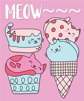Insieme disegnato a mano del gelato del gatto sveglio